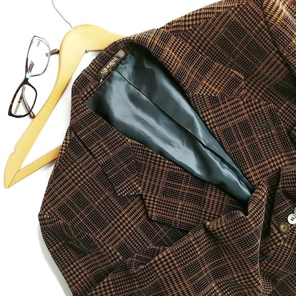Vintage Other - Men's Velvet Twill Brown And Black Blazer Size 40